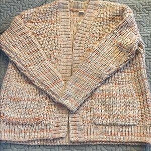 NWT GAP sz M, Open Cardigan knit, peach/lt grey